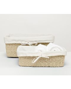 Pigeon & Poodle Madison Woven Abaca Basket Set in Bleached
