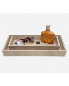 Pigeon & Poodle Hampton Leather Tray Set in Storm