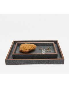 Pigeon & Poodle Manchester Tray Set in Cool Grey Realistic Faux Shagreen