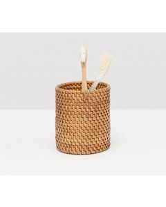 Pigeon & Poodle Dalton Woven Rattan Toothbrush Holder in Brown - ON BACKORDER UNTIL AUGUST 2021