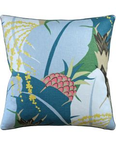 Pineapple and Palm Leaf Design Linen Square Decorative Pillow – Available in Two Sizes
