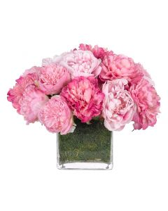 Pink Peony Faux Floral Arrangement in a Moss Garden Glass Cube Vase