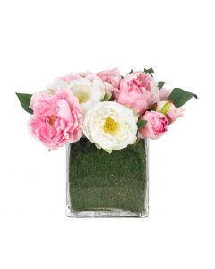 Pink & White Rose & Peony Faux Arrangement in Moss Garden Glass Cube Vase