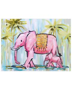 Walking Elephants and Palm Trees Pink and Green Canvas Wall Art for Kids