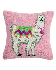Pink Festive Llama 16 x 16 Decorative Throw Pillow - ON BACKORDER UNTIL LATE MAY 2021