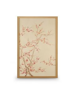 Pink Cherry Blossom Tree Watercolor on Silk Chinoiserie Panel Wall Art II