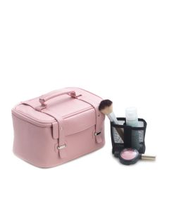 Pink Leatherette Travel Case with Removable Compartments, Nylon Lining and Zipper Closure