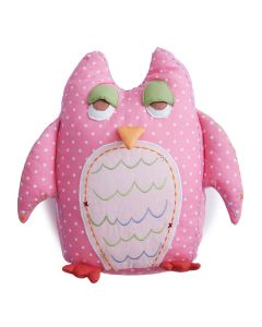 Pink Polka-Dot Owl Kids Pillow with Tooth-fairy Pocket