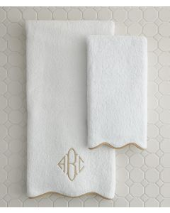 Plush Devon Terry Scalloped Bath Towels With Optional Monogram - Available in a Variety of Trim Colors
