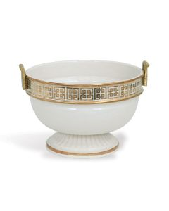 Porcelain Footed Bowl with Brass Handles and Reflective Gold Key Pattern - ON BACKORDER UNTIL MAY 2021