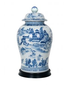 Porcelain Blue & White Chinoiserie Temple Jar with Black Base