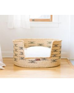 Prism Patterned Elephant Grass Basket Dog Bed - Available in Three Sizes