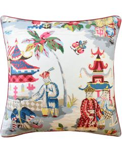 Prussian Red Linen Asian Pagoda Inspired Decorative Square Pillow – Available in Two Sizes