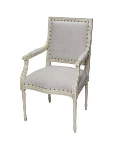 Prytania French Arm Chair with Linen Upholstery