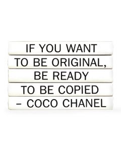 """""""If You Want To Be Original Be Ready To Be Copied"""" Five Volume Coco Chanel Quote Set of Decorative Books"""