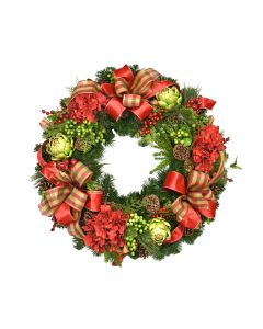 Faux Red and Green Floral Holiday Wreath