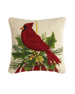 Red Cardinal Resting On Ornament Holiday Needlepoint Throw Pillow - LOW STOCK