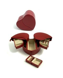 Red Leather Heart Shaped Jewelry Box with Removable Travel Case