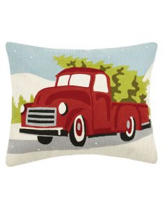 Red Truck with Christmas Tree Holiday Pillow