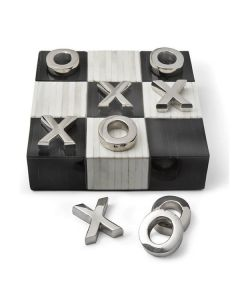 Decorative Flat Tic Tac Toe Board Game with Nickel Pieces