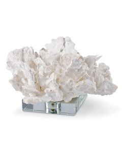 White Resin Flower Coral Sculpture On Crystal Base