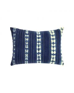 Restored Vintage Blue & White Dyed Lumbar Pillow with Gold Thread