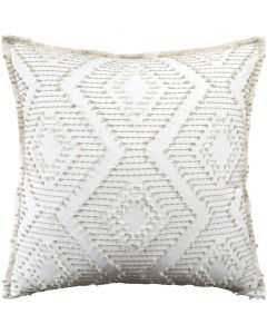 Rhombus Design Embroidered Decorative Pillow in Linen – Available in Different Sizes