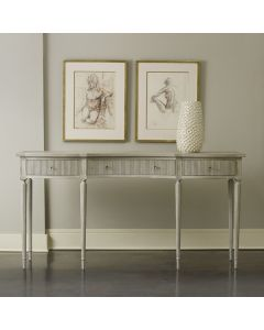 Modern History Antique Grey Ribbed Drawer Console