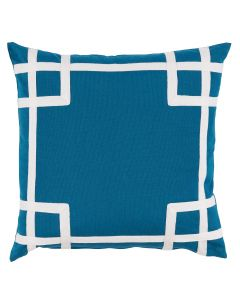 Azure Blue Outdoor Pillow with Geometric White Tape Detail