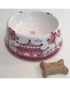Hand Painted Rose Chinoiserie Dog Bowl - Can be Personalized