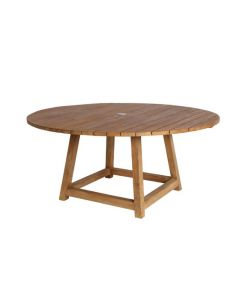 Round Outdoor Teak Umbrella Dining Table - Available in Two Sizes