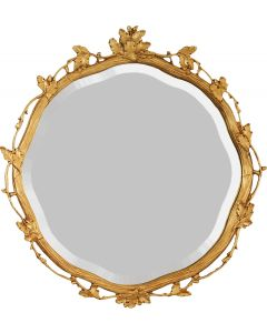 Round Gold Trellis Leaf Wall Mirror - Available in 3 Sizes and Custom Options