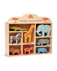 Safari Animals Wooden Toy Set with Display Shelf for Kids