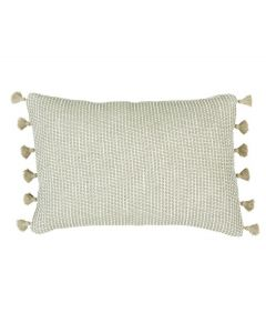 Sandy Beige Squiggly Lumbar Pillow with Tassel Fringe