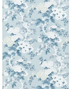 Scalamandre Ascot Floral Print Wallcovering in Sky Blue & White