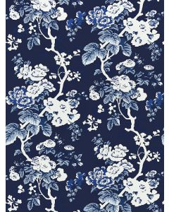 Scalamandre Ascot Floral Print Wallcovering in Indigo Blue & White