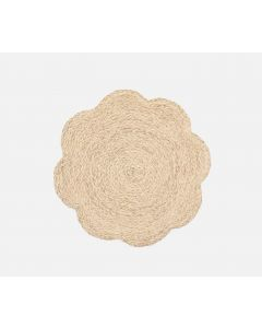 Set of 4 Scalloped Edge Round Bleached Raffia Placemats