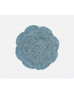 Set of 4 Scalloped Edge Round Raffia Placemats in Mixed Blue