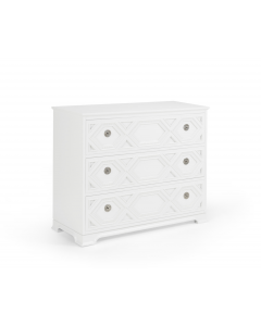 Three Drawer Carved Wood Chest - Available in a Variety of Colors