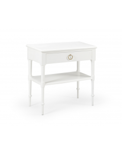 One Drawer Wood Nightstand With Brass Pull – Can be Custom Painted