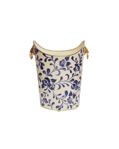 Worlds Away Hand Painted Navy Vine Wastebasket With Gold Lion Handles
