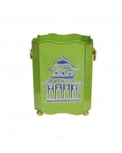 Worlds Away Hand Painted Green and Blue Pagoda Wastebasket