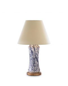 Bunny Williams Home Hand Painted Blue and White Ceramic Spatter Lamp With Gold Base