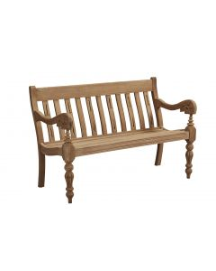Scrolled Arm Two Seater Wood Bench