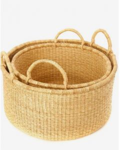 Set of Two Natural Woven Grass Floor Baskets