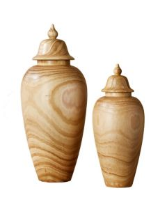 Set of 2 Paulownia Wood Covered Temple Jars - ON BACKORDER UNTIL JULY 2021
