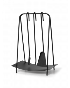 Set of 3 Black Fireplace Tools With Stand