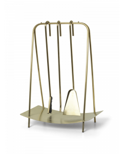 Set of 3 Brass Fireplace Tools With Stand