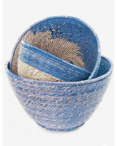 Set of Three Nesting Zambian Table Baskets in Blue & Natural
