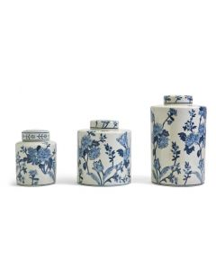 Set of 3 Porcelain Blue and White  Japanese Blossom Tea Jars With Crackle Finish - ON BACKORDER UNTIL LATE AUGUST 2021